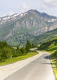 Colle dell'Agnello. Road to Colle dell'Agnello (Cuneo, Val Varaita, Piedmont, Italy), in the western Alps, at summer Royalty Free Stock Photography