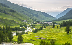 Colle dell'Agnello, Val Varaita. View of the Val Varaita (Cuneo, Piedmont, Italy) and of Chianale from the road to Colle dell'Agnello, in the Italian Alps, at Royalty Free Stock Images