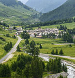 Colle dell'Agnello, Val Varaita. View of the Val Varaita (Cuneo, Piedmont, Italy) and of Chianale from the road to Colle dell'Agnello, in the Italian Alps, at Royalty Free Stock Photography