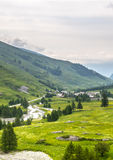 Colle dell'Agnello, Val Varaita. View of the Val Varaita (Cuneo, Piedmont, Italy) and of Chianale from the road to Colle dell'Agnello, in the Italian Alps, at Royalty Free Stock Photo