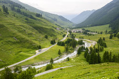 Colle dell'Agnello, Val Varaita. View of the Val Varaita (Cuneo, Piedmont, Italy) and of Chianale from the road to Colle dell'Agnello, in the Italian Alps, at Stock Photos
