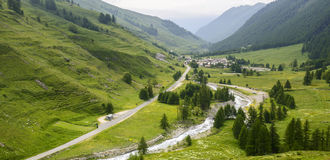 Colle dell'Agnello, Val Varaita. View of the Val Varaita (Cuneo, Piedmont, Italy) and of Chianale from the road to Colle dell'Agnello, in the Italian Alps, at Royalty Free Stock Photos