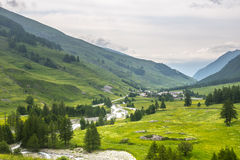 Colle dell'Agnello, Val Varaita. View of the Val Varaita (Cuneo, Piedmont, Italy) and of Chianale from the road to Colle dell'Agnello, in the Italian Alps, at Royalty Free Stock Image