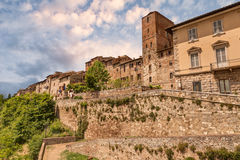 Colle di Val d'Elsa, Tuscany, Italy. Colle di Val d'Elsa, Siena, Tuscany, Italy. View of the medieval town with city walls on the tuscan with city walls Stock Photo