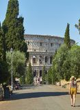 Colle Oppio park with the Colosseum in background. Rome, Lazio. Royalty Free Stock Image