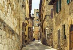 Colle Val D`Elsa village view, Siena, Tuscany, Italy. Colle Val D`Elsa village panoramic view, Siena, Tuscany, Italy. Central street of small tuscan medieval Stock Photos