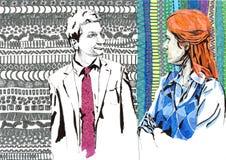 Colleague color. Man in suit, colleague, woman Stock Images