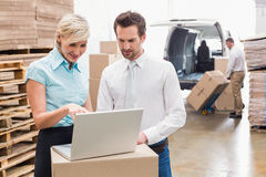 Colleague with laptop at warehouse Stock Image