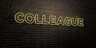 COLLEAGUE -Realistic Neon Sign on Brick Wall background - 3D rendered royalty free stock image Stock Photography