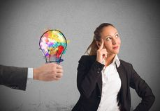 Colleague suggests an idea Stock Photo