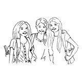 Colleagues. Coloring illustration of three girls at the school Stock Photo