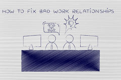 Colleagues arguing at the office, how to fix bad work relationsh Stock Images