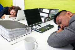 Colleagues asleep at their respective desk Stock Photography