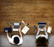 Colleagues Busy Working Laptop Office Concept Royalty Free Stock Photos