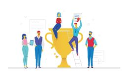 Colleagues celebrating victory - flat design style colorful illustration. On white background. Metaphorical composition with office workers or business team Stock Images