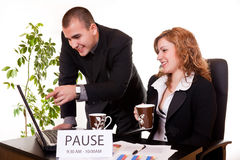 Colleagues on coffee-break discussing Stock Image