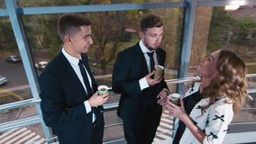Colleagues on coffee break stock video