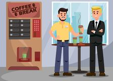 Colleagues at Coffee Break Vector Illustration. Male Character with Take Away Latte Cup. Coffee Vending Machine. Office Workers Drinking Tea. Characters during stock illustration