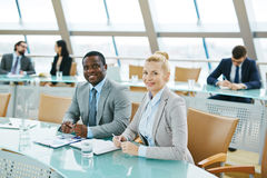 Colleagues in conference hall Royalty Free Stock Images