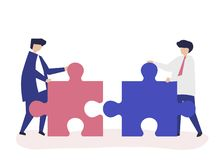 Colleagues connecting jigsaw pieces together Vector Illustration