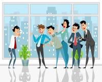 Colleagues convince subordinate stock illustration