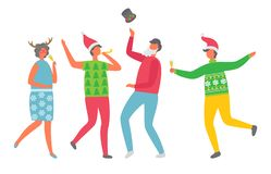 Colleagues at Corporative, Isolated Vector Party. Colleagues at corporative, isolated vector. Cheerful people celebrating Christmas party. Cartoon man with glass vector illustration