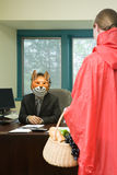 Colleagues in costume royalty free stock photos