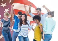 Colleagues dancing against american flag in background Stock Photos