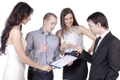 Colleagues discuss the business plan Royalty Free Stock Image