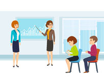 Colleagues discuss financial issues and state of affairs of company. Royalty Free Stock Photo