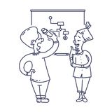 Colleagues discussing a cheme. At the white board illustration stock illustration