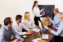 Colleagues discussing price development Stock Images