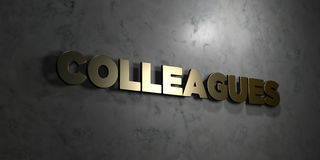 Colleagues - Gold text on black background - 3D rendered royalty free stock picture Stock Images