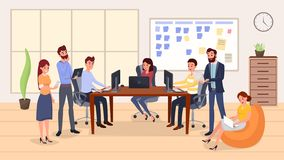 Colleagues group meeting flat vector illustration. Smiling people working with computers cartoon characters. Office interior decor, team building exercise stock illustration