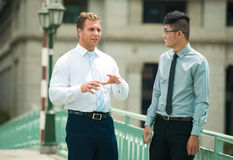 Colleagues interacting. Enthusiastic businessman interacting with his younger colleague sharing ideas Stock Image