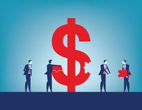 Colleagues investment success. Business team collecting dollar sign with pieces. Concept business vector illustration stock illustration