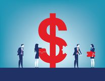 Colleagues investment success. Business team collecting dollar sign with pieces. Concept business vector illustration royalty free illustration