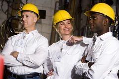 Colleagues in maintenance room Royalty Free Stock Photo
