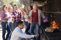Colleagues making grill at picnic Royalty Free Stock Image