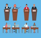 Colleagues man and woman. At office and conferences in desk or podium vector illustration graphic design vector illustration
