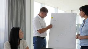 Colleagues offers ideas and discussing business development beside whiteboard. In conference room stock video