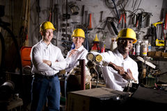 Colleagues in office maintenance area royalty free stock photos