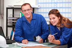 Colleagues ordering parts. For a repair stock photos