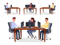 Colleagues, programmers team vector illustration. Happy men and woman sitting in chairs working with computers cartoon characters. Cooperative programming, web stock illustration