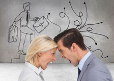 Colleagues quarreling head against head Stock Image