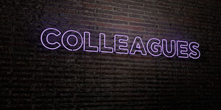 COLLEAGUES -Realistic Neon Sign on Brick Wall background - 3D rendered royalty free stock image. Can be used for online banner ads and direct mailers Stock Photography