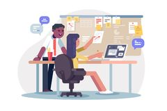Colleagues scheduling work process. Vector illustration. Man and woman planning together operations agenda and working environment flat style concept. Office royalty free illustration