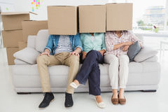 Colleagues sitting on couch covering with cardboard box Stock Image