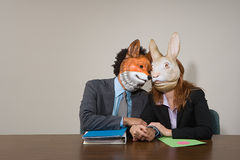 Colleagues wearing masks Stock Photography
