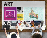 Colleagues Working Art Simplicity Concept Stock Photos